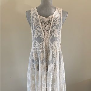 Ivory lace duster